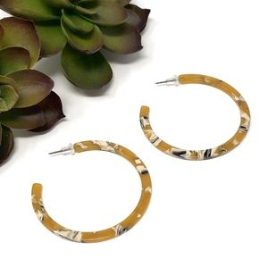 Large Yellow Acrylic Hoop Earrings